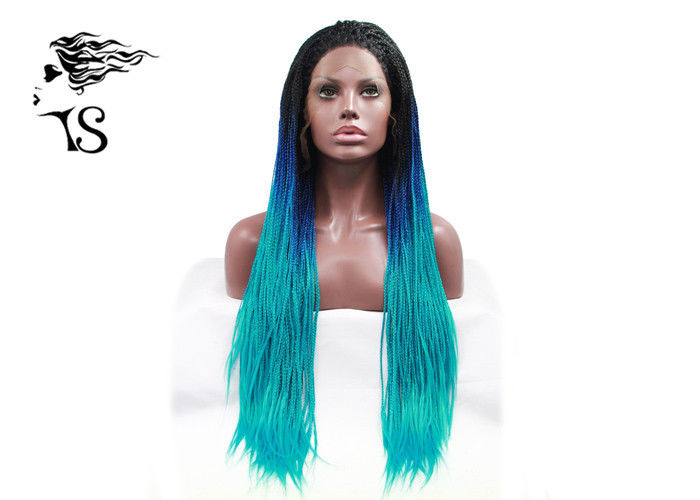 Blue Ombre Syntheticlace Front Box Braids , Colored Long African Braided Hair Wig