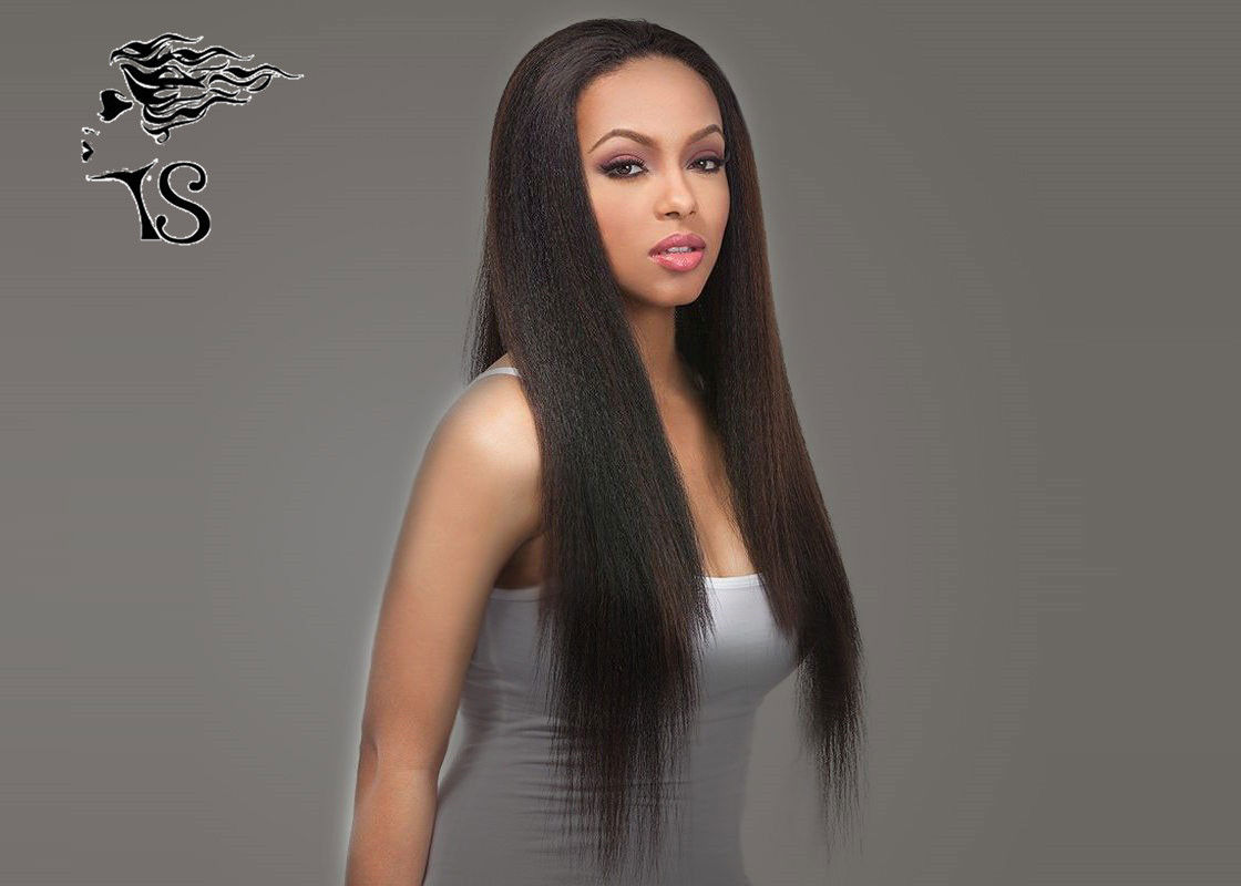 Natural Black Heavy Yaki Straight Human Straight Lace Front Wigs With 100% Brazilian Hair